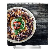 Bolied Octopus In Spicy Sauce Tapas Starter Shower Curtain