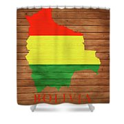 Bolivia Rustic Map On Wood Shower Curtain