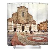 Bologna, Italy San Petronio Basilica Facade Crescentone Shower Curtain