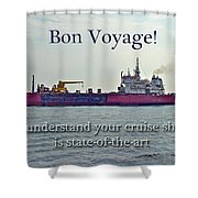 Bon Voyage Greeting Card - Enjoy Your Cruise Shower Curtain