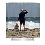 Bonaire Inukshuk Monument Shower Curtain
