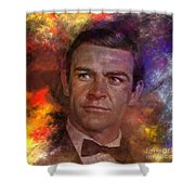 Bond - James Bond - Square Version Shower Curtain by John Robert Beck