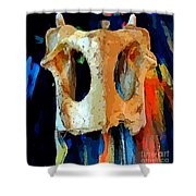 Bone And Paint Abstract Shower Curtain