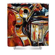 Bone Bass And Drums Shower Curtain
