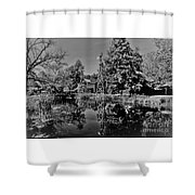 Bonneyville Grist Mill          Black And White        Autumn        Indiana Shower Curtain