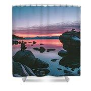 Bonsai Rock Sunset Shower Curtain