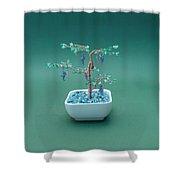 Bonsai Wire Tree Sculpture Beaded Grape Gems      Shower Curtain