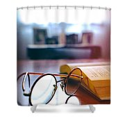 Book And Glasses Shower Curtain