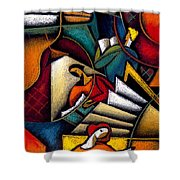 Book Shower Curtain by Leon Zernitsky