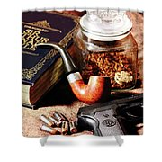 Books And Bullets Shower Curtain by Barry Jones