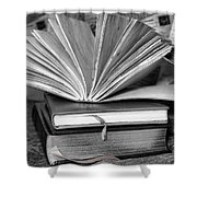 Books In Black And White Shower Curtain