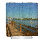 Boothbay Front Ocean View At Sunrise Shower Curtain