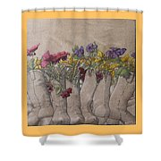 Boots And Flowers Shower Curtain
