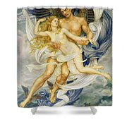 Boreas And Oreithyia Shower Curtain by Evelyn De Morgan