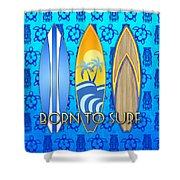 Born To Surf And Tiki Masks Shower Curtain