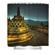 Borobudur Temple Central Java Shower Curtain