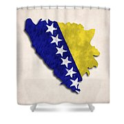 Bosnia And Herzegovina Map Art With Flag Design Shower Curtain