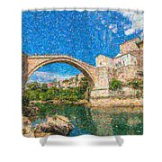 Bosnia Mostar Herzegovina Europe Travel Landmark Shower Curtain