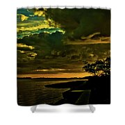 Boston Bay Sunrise Shower Curtain