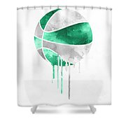 Boston Celtics Dripping Water Colors Pixel Art Shower Curtain
