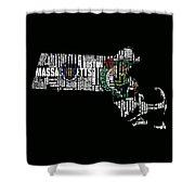 Boston Celtics Typographic Map Shower Curtain