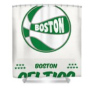 Boston Celtics Vintage Basketball Art Shower Curtain