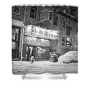 Boston Chinatown Snowstorm Tyler St Black And White Shower Curtain