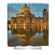 Boston Christian Science Building Reflecting Pool Shower Curtain
