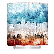 Boston City Skyline Watercolor 2 Shower Curtain