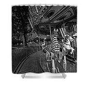 Boston Common Carousel Boston Ma Black And White Shower Curtain