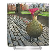 Boston Ducklings Getting Their Pink On Shower Curtain
