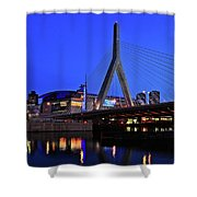Boston Garden And Zakim Bridge Shower Curtain by Rick Berk