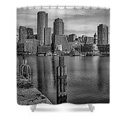 Boston Habor Sunrise Bw Shower Curtain