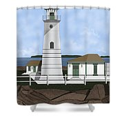Boston Harbor Lighthouse On Brewster Island Shower Curtain
