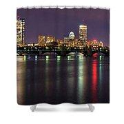 Boston Harbor Nights-panorama Shower Curtain by Joann Vitali
