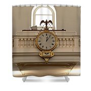 Boston Historical Meeting Room Clock Shower Curtain