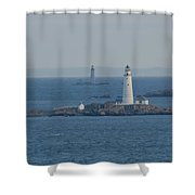 Boston Light And The Grave Light Panorama Shower Curtain