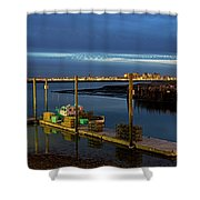 Boston Ma Belle Isle Boat Pier And Skyline Logan Airport Shower Curtain