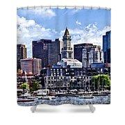 Boston Ma - Skyline With Custom House Tower Shower Curtain
