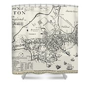 Boston Map, 1722 Shower Curtain by Granger
