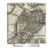 Boston Map Of 1842 Shower Curtain