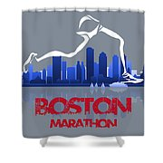 Boston Marathon 3a Running Runner Shower Curtain
