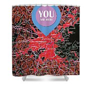 Boston Massachusetts 1948 Red Old Map You Are Here Shower Curtain
