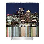 Boston Night Skyline Panorama Shower Curtain