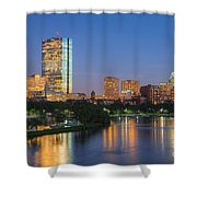 Boston Night Skyline II Shower Curtain by Clarence Holmes