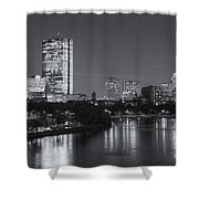 Boston Night Skyline V Shower Curtain by Clarence Holmes