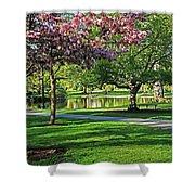 Boston Public Garden Pond Through The Cherry Blossom Spring Day Shower Curtain