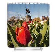 Boston Public Garden Tulips And George Washington Statue 2 Shower Curtain