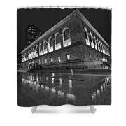 Boston Public Library Rainy Night Boston Ma Black And White Shower Curtain