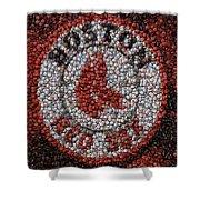Boston Red Sox Bottle Cap Mosaic Shower Curtain by Paul Van Scott